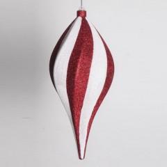 30 cm spiral-top, rød med hvidt glitter