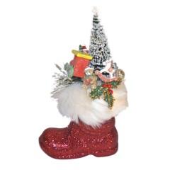 Julemandens støvle, rødt glitter med dekoration, 13 cm + deko