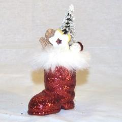 Julemandens støvle, rødt glitter med dekoration, 7 cm + deko