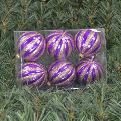 6 cm julekugler, perlemor lilla med champagne glitter, 6 stk i boks