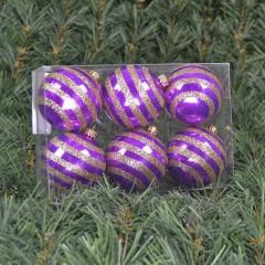 6 cm julekugler, perlemor lilla med vandrette striber af champagne glitter, 6 stk i boks