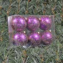 6 cm julekugler, mat lilla med deko af champagne glitter, 6 stk i boks