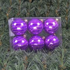 6 cm julekugler, perlemor lilla med swirl deko af champagne glitter, 6 stk i boks