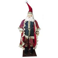 Julemand 150 cm, rød, mørk grøn, guld, på fod