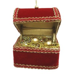 Skattekiste, 17x10 cm, rød velour med guld