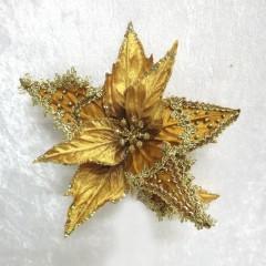 Julestjerne med clip, guld velour med guld dekoration