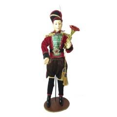 Soldat med trompet, 60 cm, rød, grøn guld, på fod