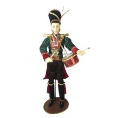 Soldat med tromme, 60 cm, rød, grøn guld, på fod