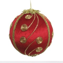15 cm julekugle, rød velour med gulddekoration