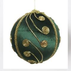 15 cm julekugle, grøn velour med gulddekoration