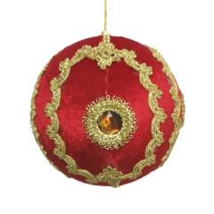 15 cm julekugle, rød velour med gulddekoration og simili