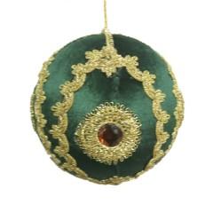 15 cm julekugle, grøn velour med gulddekoration og simili