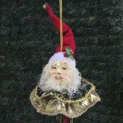 Julemands hoved, ornament med frynser, rød, guld, grøn