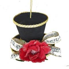 Tophat ornament, 11,5 cm, sort velour med rose og nodebånd