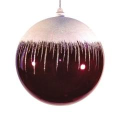20 cm julekugle, blank, burgundy m/sne
