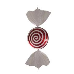 86 cm slik, flad rund, perlemor rød med hvidt swirl glitter