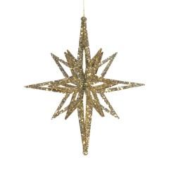 20 cm stjerne, glitter champagne, 3D