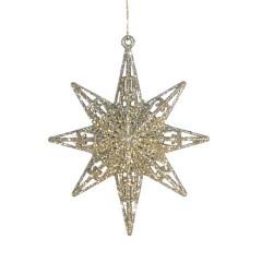 12,5 cm 8-punkt-stjerne, glitter, champagne