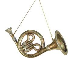 French horn antik guld m/champagne glitter, 20 cm