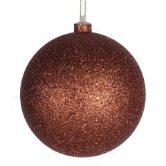 14 cm julekugle, glitter, kobber