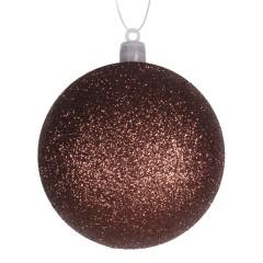 8 cm julekugle, glitter, choko