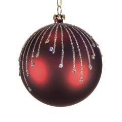 8 cm julekugle, mat, burgundy m/stjernskud