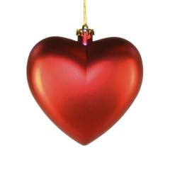 Hjerte, mat rød, 15 cm