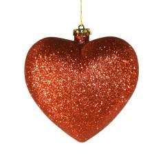 Hjerte, glitter rød, 15 cm