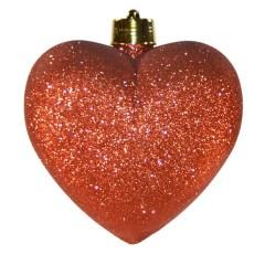 Hjerte, glitter rød, 23 cm