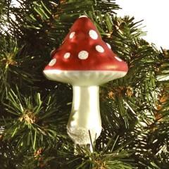 10,8 cm svamp, rød og hvid m/clip, glas