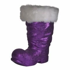 Julemandens støvle, 40 cm, lilla glitter