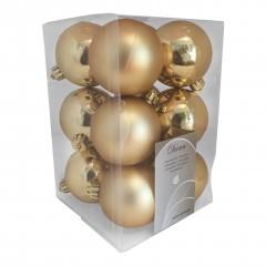 6 cm julekugler, guld, mat og blank, 12 stk i boks