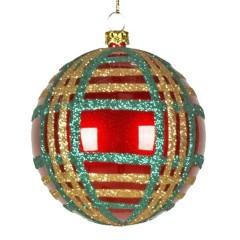 8 cm julekugle, perlemor, rød m/grøn og guld scotch glitter