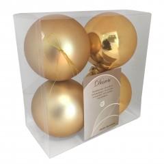 10 cm julekugler, guld, mat og blank, 4 stk i boks