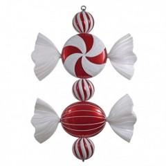 68 cm slik, rødt med hvidt glitter
