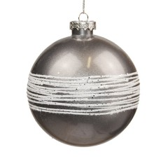 10 cm kugle, sølv perlemor m/ hvidt glitter