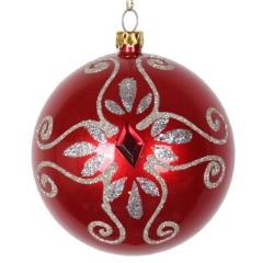 8 cm julekugle, perlemor, rød m/simili og champagne glitter