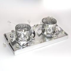 2 fyrfadsstager, sølv m/pynt