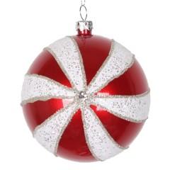 8 cm julekugle, perlemor, rød m/hvid og sølv glitter