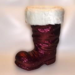 Julemandens støvle, 40 cm, bordeaux glitter