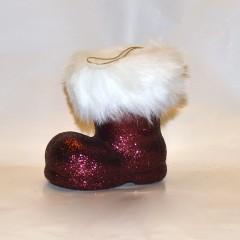 Julemandens støvle, 13 cm, bordeaux glitter