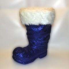 Julemandens støvle, 40 cm, mørkeblå glitter