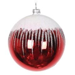 8 cm julekugle, blank, rød m/sne, hvid og sølv glitter
