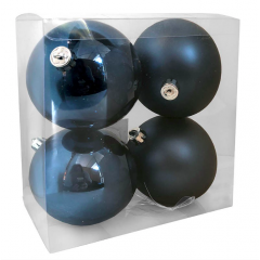 10 cm kugle, midnatsblå, 4 stk i boks
