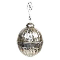 8 cm glaskugle med ornamentering
