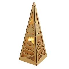 Bordlampe m/LED til batteri, udskåret træ, pyramide