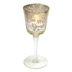 Fyrfadsstage m/fod, 18 cm, glas