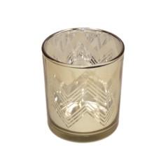 Fyrfadsstage, 8 cm, glas, guld