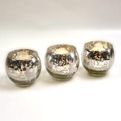 Fyrfadsstage, 3 stk, 7 cm, glas