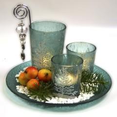 Fyrfadsstager på fad m/dekosten, turkis, glas